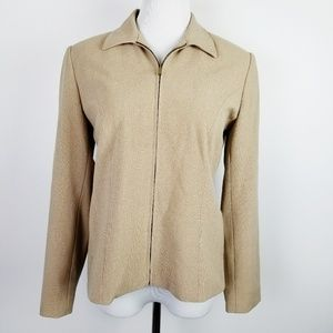 RAFAELLA Petites Tan Full Zip Lined Blazer Jacket